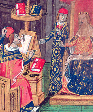 This 15th-century Italian illustration depicts the presentation of a work by Ibn Zuhr of Seville, translated into Latin by John of Capua.