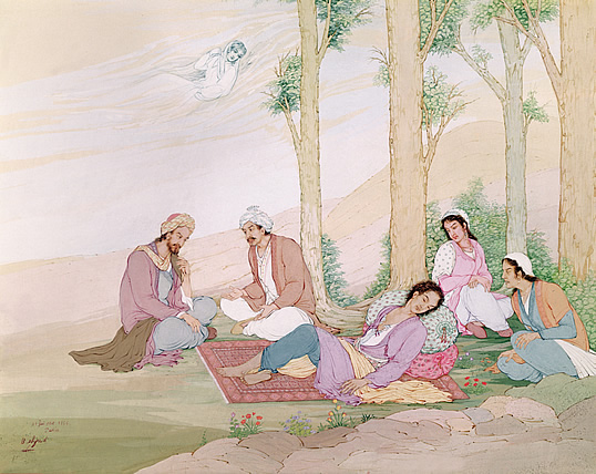 This modern gouache illustration depicting Ibn al-Nafis is titled Discovery of the Small Circulationthe movement of blood from the right ventricle of the heart to the lungs and back to the left atrium. It was Ibn al-Nafis who first correctly described the interaction of the heart and lungs in circulation and oxygenation of blood.