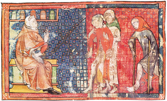 In a 14th-century French version of al-Zahrawis Arrangement of Medical Knowledge, a sick man and a crippled man are presented to a doctor. Al-Zahrawis compendium was used in Europe till the late 16th century.
